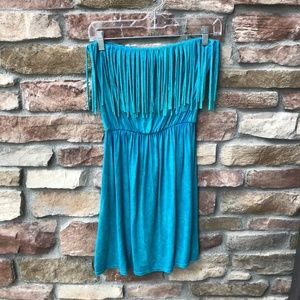 T PARTY Turquoise Fringe Strapless Dress S